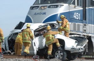 Amtrak train collides with truck in Moorpark,Ca...1 killed!!!(Photo by ROB VARELA/VC Star.com)