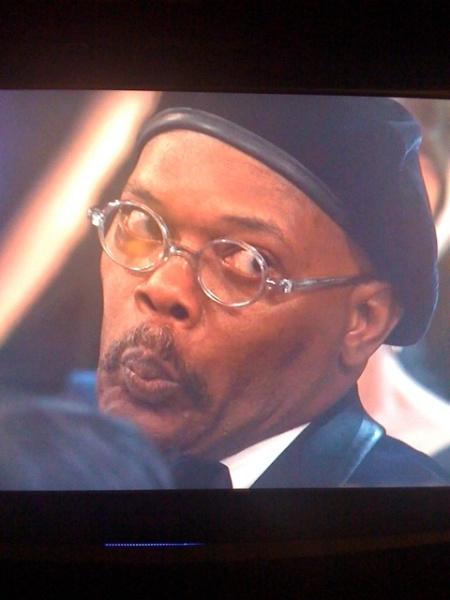 Samuel Jackson gives Mo'Nique's speech the salty 'side-eye'...