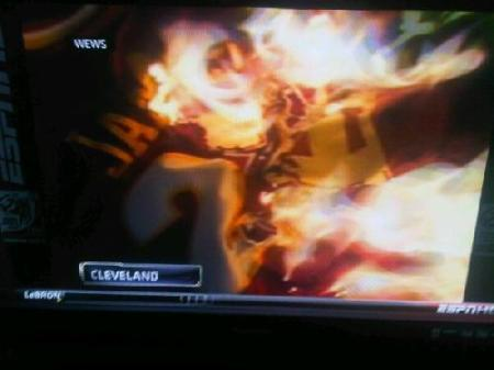 LeBron bon-fire in Cleveland