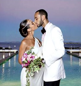 Alicia Keys and Swizz Beats wedding photo.