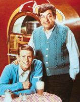 Ron Howard and Tom Bosley on the set of Happy Days...