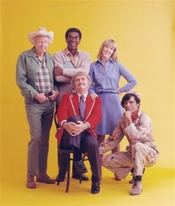 "Jim Wall (center) and cast of the ""Captain Kangaroo Show"""