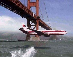 Fictional plane under bridge...