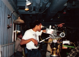 Animator Jerry Brice directing a crew on set of a music video...