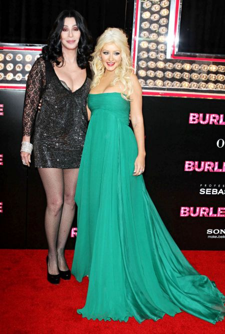 Cher and Christina on the red carpet at the premiere of 'Burlesque'.