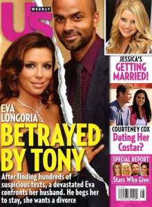 People magazines cover article on Tony's betrayal of Eva with family friend Erin Berry...