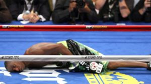 Out cold...Paul Williams after a Sergio Martinez left hook.