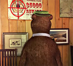 Yogi Bear facing the value of his betrayal by the coward Boo Boo...