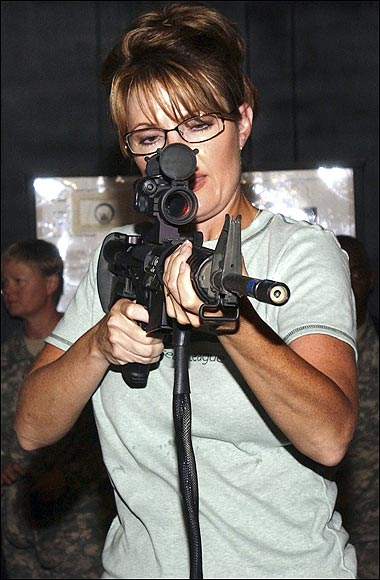 Sarah Palin targeted the Congresswomen,and bagged her point blank in the head