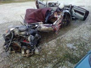 The wreckage of a Porsche belonging to the Keith and Lisa Brown.