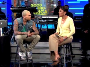 Chris wishing he could beat down Robin Roberts...if only they were alone!