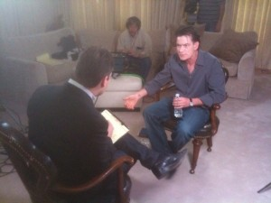 Charlie Sheen being interviewed on the 'Today' show