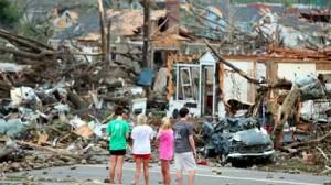 Tornado smashed house