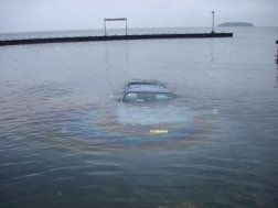 Submerged minivan...