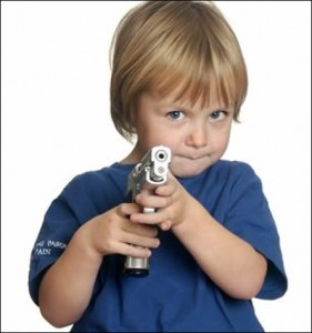 child pointing toy gun