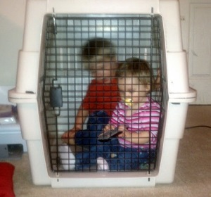 Children locked up in a cage