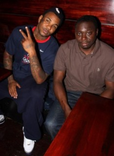 Game and alleged killer of Tupac Shakur, Jimmy Henchman ,in a studio probably on the east coast