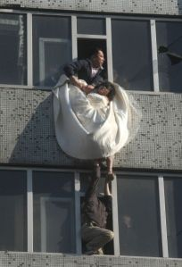 Heroic rescue of jilted bride to be