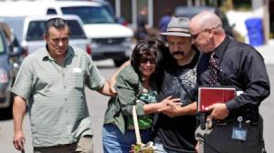 Relatives arrive at scene of murder suicide of their family members