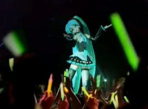 Hatsune Miku performing live ,in concert on stage...